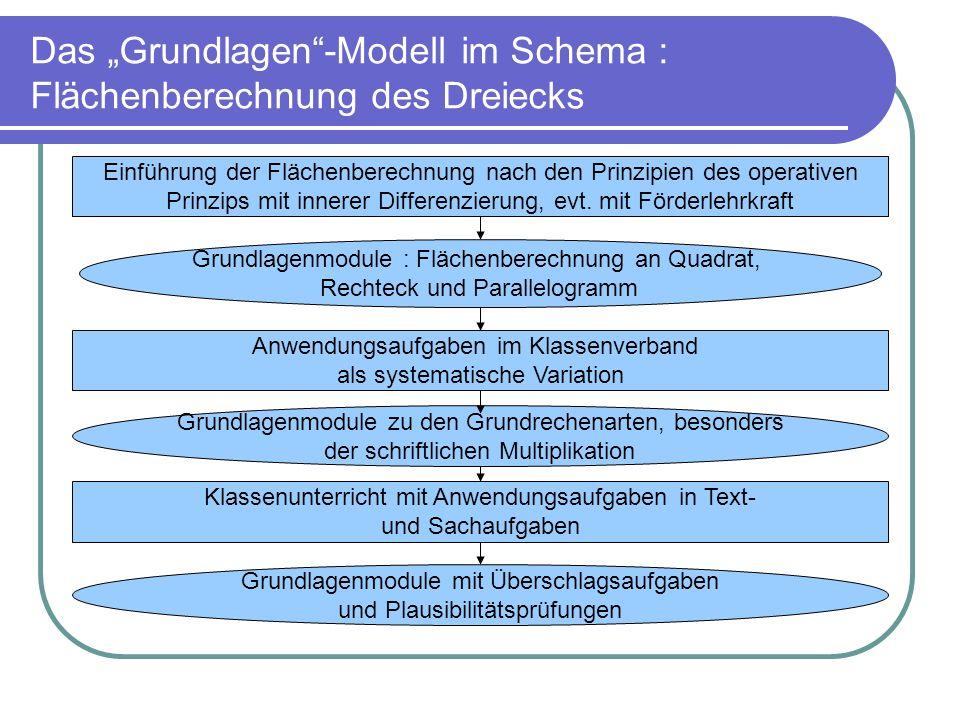 """Das """"Grundlagen -Modell im Schema : Flächenberechnung des Dreiecks"""