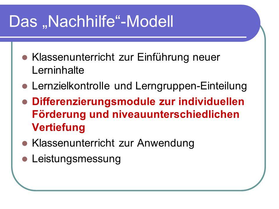 """Das """"Nachhilfe -Modell"""