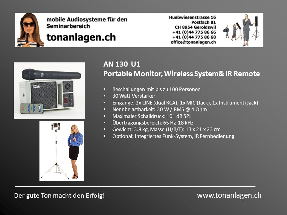 Portable Monitor, Wireless System& IR Remote
