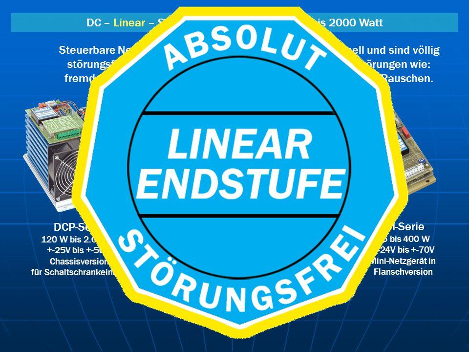 DC – Linear – Steuerbare Netzgeräte von 25 bis 2000 Watt