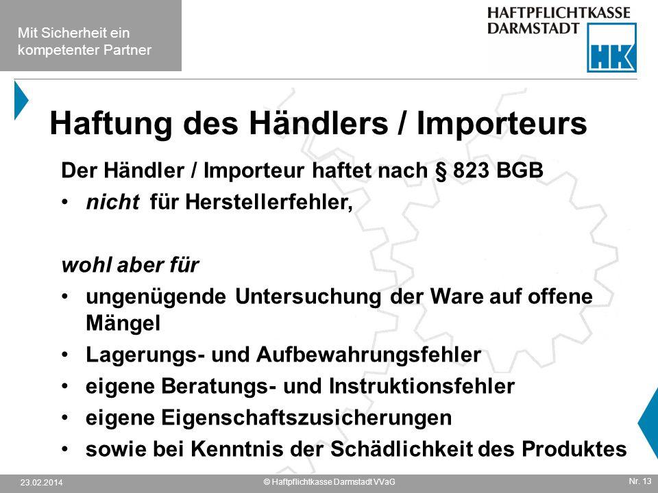 Haftung des Händlers / Importeurs