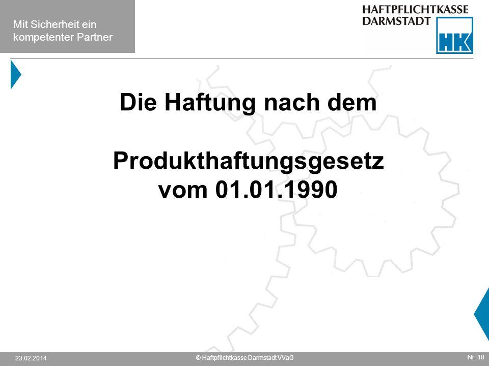 Die Haftung nach dem Produkthaftungsgesetz vom 01.01.1990