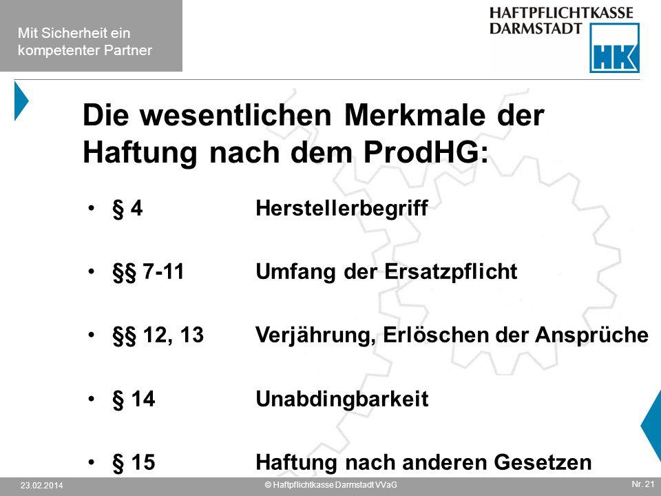 Die wesentlichen Merkmale der Haftung nach dem ProdHG: