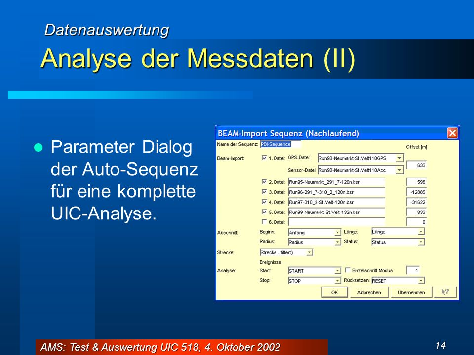Analyse der Messdaten (II)