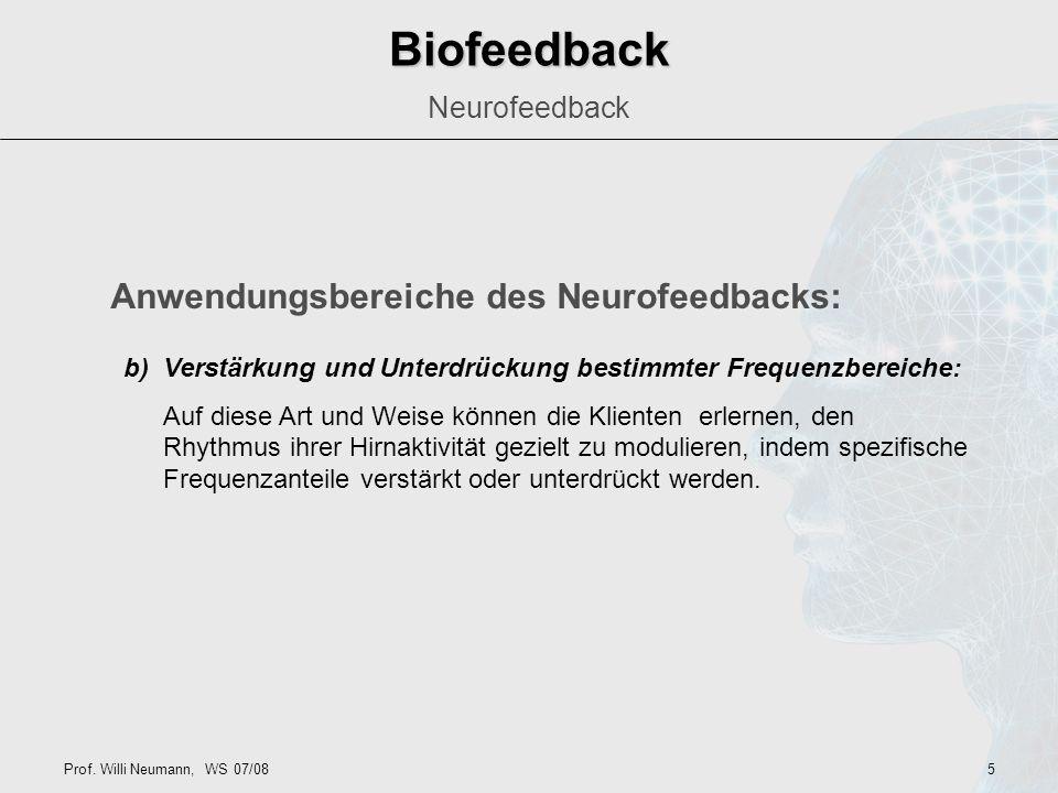 Biofeedback Anwendungsbereiche des Neurofeedbacks: Neurofeedback