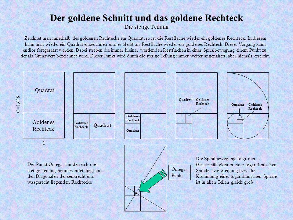 Der goldene Schnitt und das goldene Rechteck Die stetige Teilung