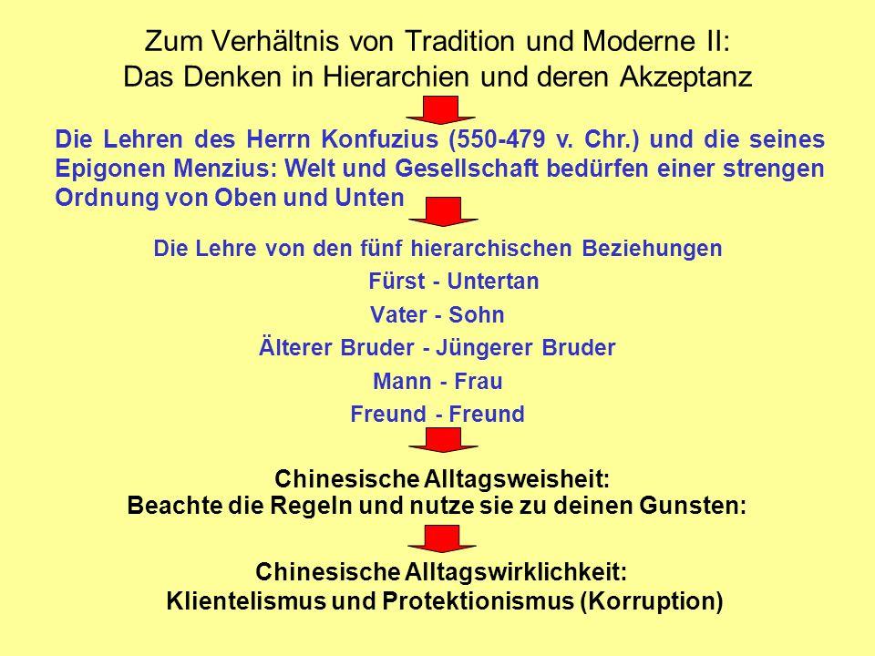 Zum Verhältnis von Tradition und Moderne II: Das Denken in Hierarchien und deren Akzeptanz
