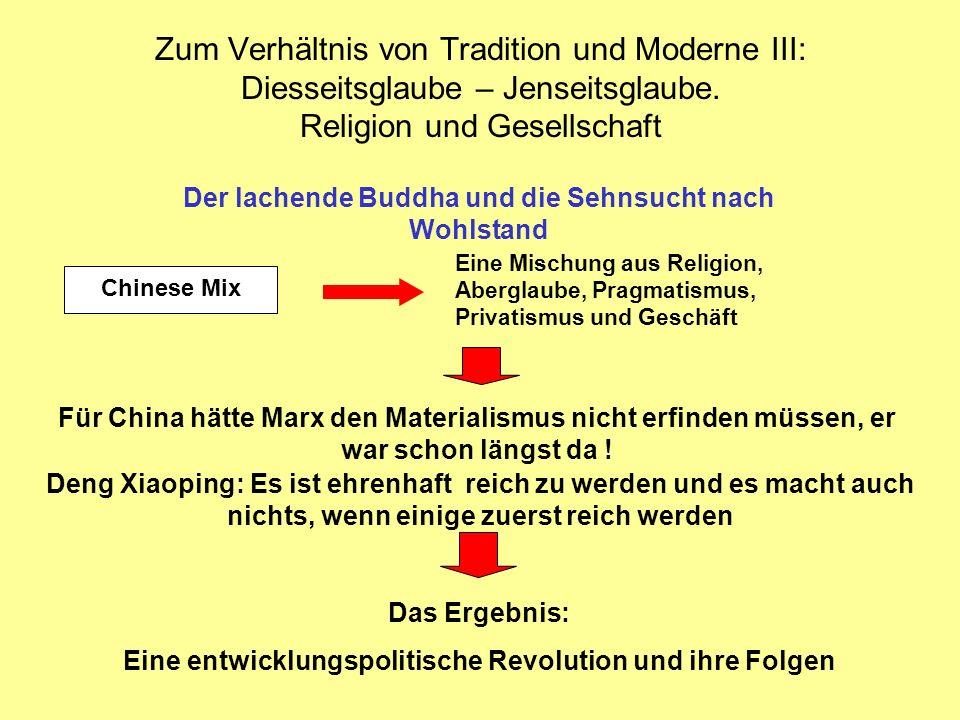 Zum Verhältnis von Tradition und Moderne III: Diesseitsglaube – Jenseitsglaube. Religion und Gesellschaft
