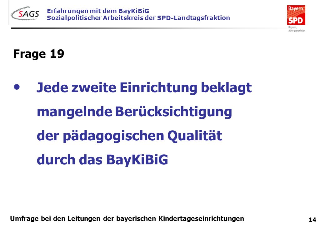 Frage 19 Jede zweite Einrichtung beklagt mangelnde Berücksichtigung der pädagogischen Qualität durch das BayKiBiG.