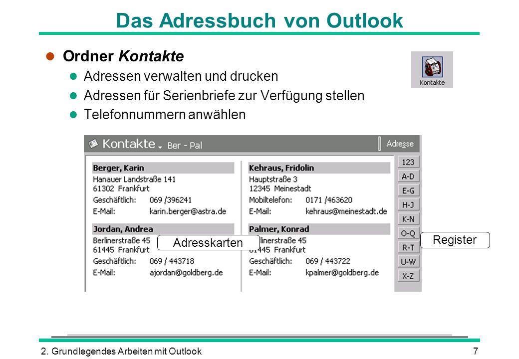 Das Adressbuch von Outlook