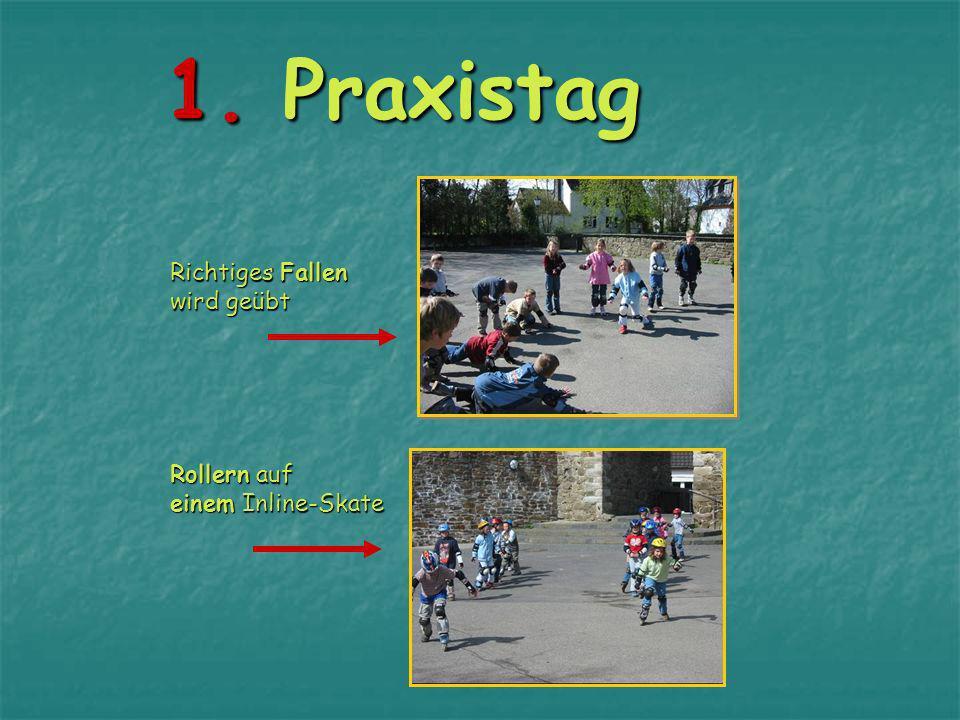1. Praxistag Richtiges Fallen wird geübt Rollern auf einem Inline-Skate