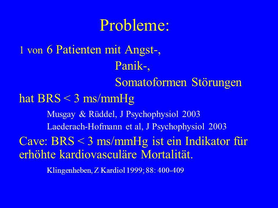 Probleme: Panik-, Somatoformen Störungen hat BRS < 3 ms/mmHg