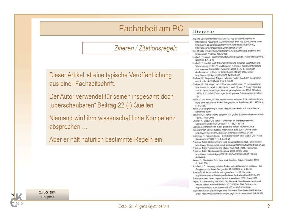 Facharbeit am PC Zitieren / Zitationsregeln