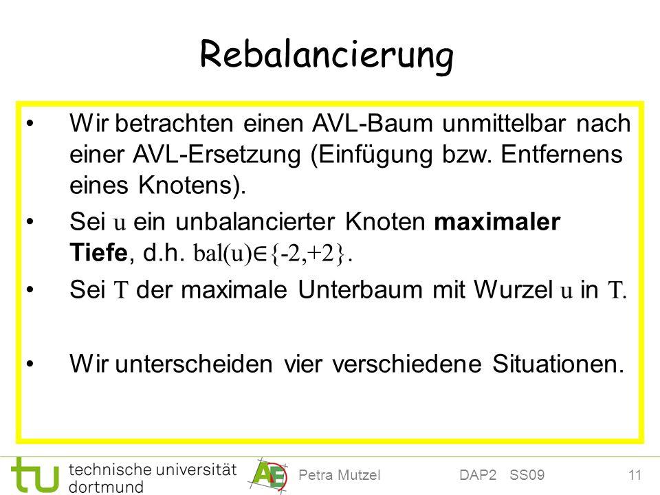 Rebalancierung Wir betrachten einen AVL-Baum unmittelbar nach einer AVL-Ersetzung (Einfügung bzw. Entfernens eines Knotens).