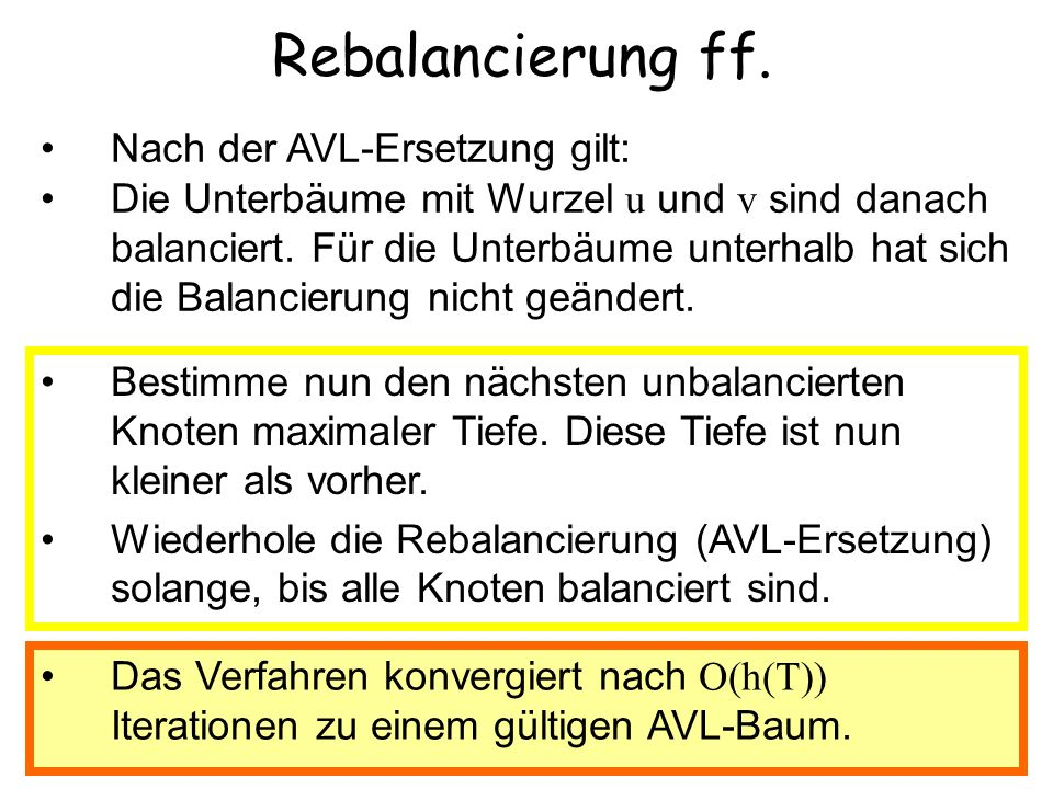 Rebalancierung ff. Nach der AVL-Ersetzung gilt: