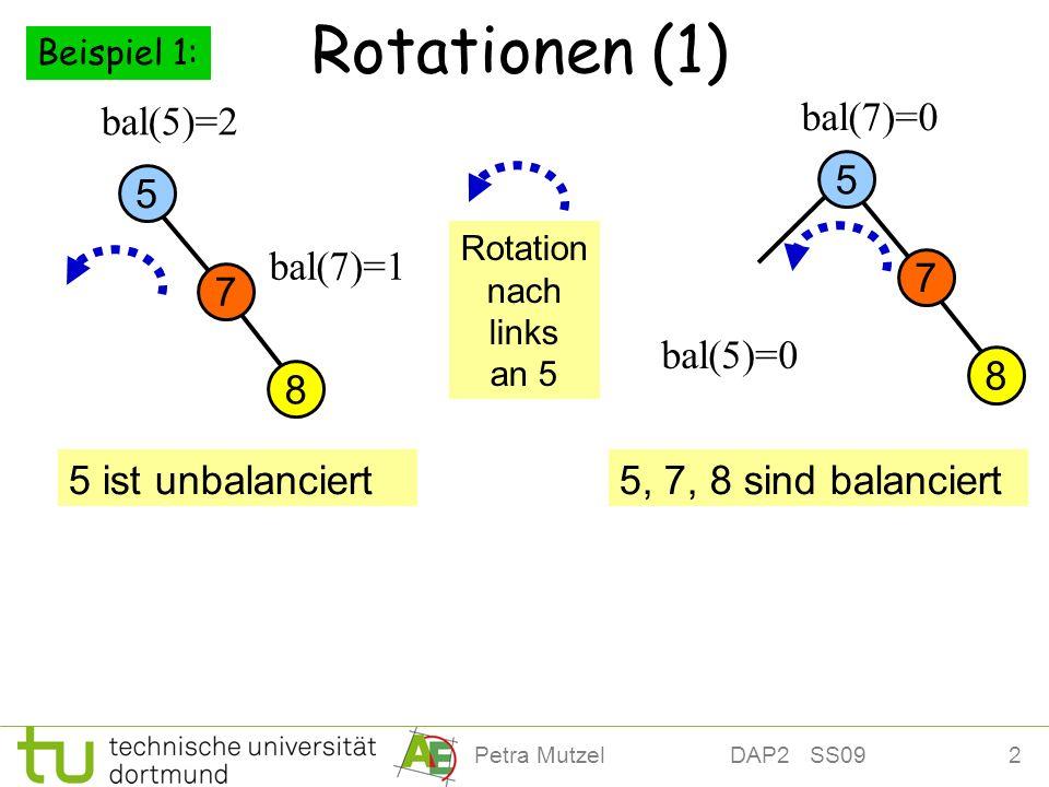 Rotationen (1) bal(5)=2 bal(7)=0 5 5 bal(7)=1 7 7 bal(5)=0 8 8