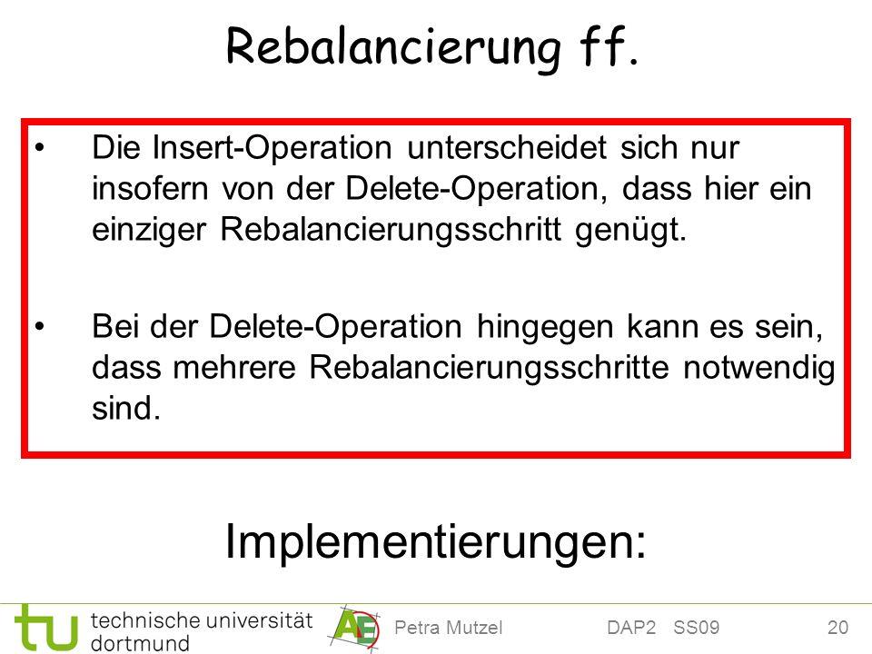 Rebalancierung ff. Implementierungen: