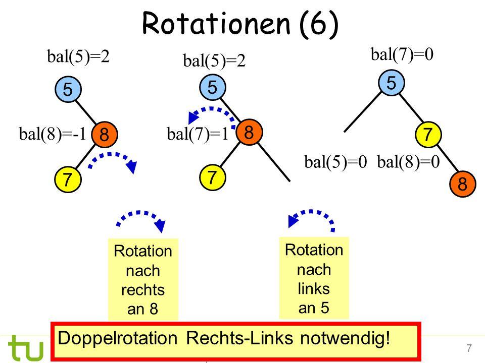 Rotationen (6) bal(5)=2 bal(7)=0 bal(5)=2 5 5 5 bal(8)=-1 8 bal(7)=1 8