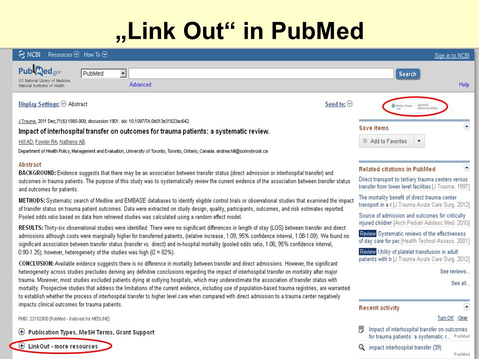 """Link Out in PubMed"