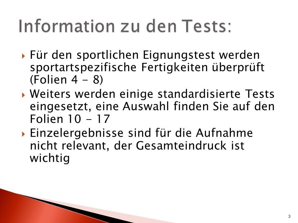 Information zu den Tests: