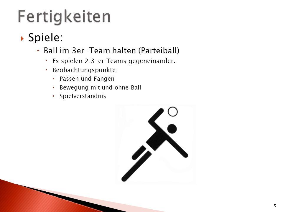 Fertigkeiten Spiele: Ball im 3er-Team halten (Parteiball)