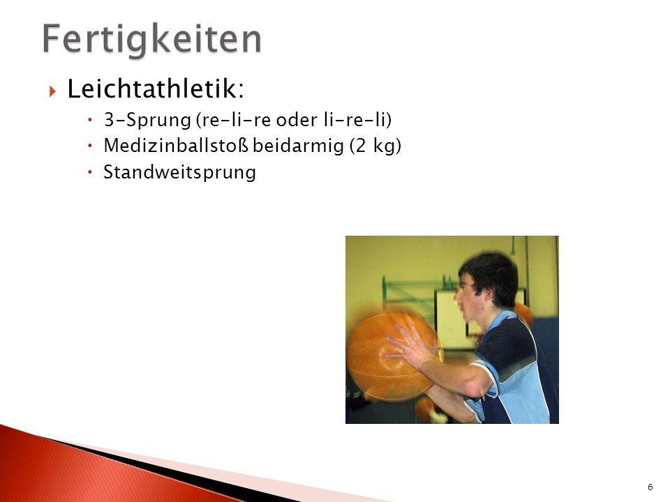 Fertigkeiten Leichtathletik: 3-Sprung (re-li-re oder li-re-li)