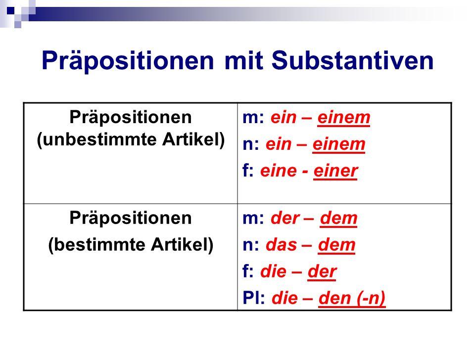 Präpositionen mit Substantiven