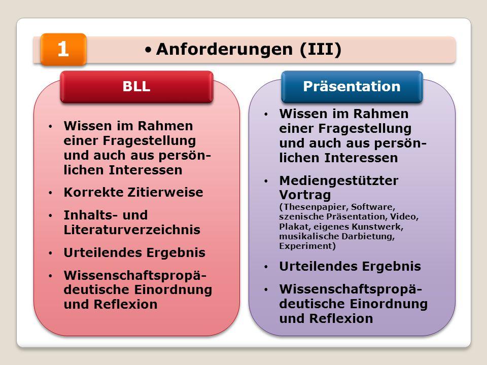1 Anforderungen (III) BLL Präsentation