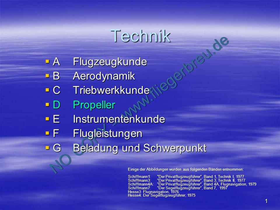Technik A Flugzeugkunde B Aerodynamik C Triebwerkkunde D Propeller