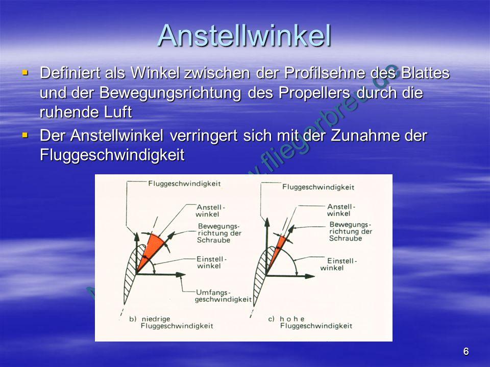 AnstellwinkelDefiniert als Winkel zwischen der Profilsehne des Blattes und der Bewegungsrichtung des Propellers durch die ruhende Luft.