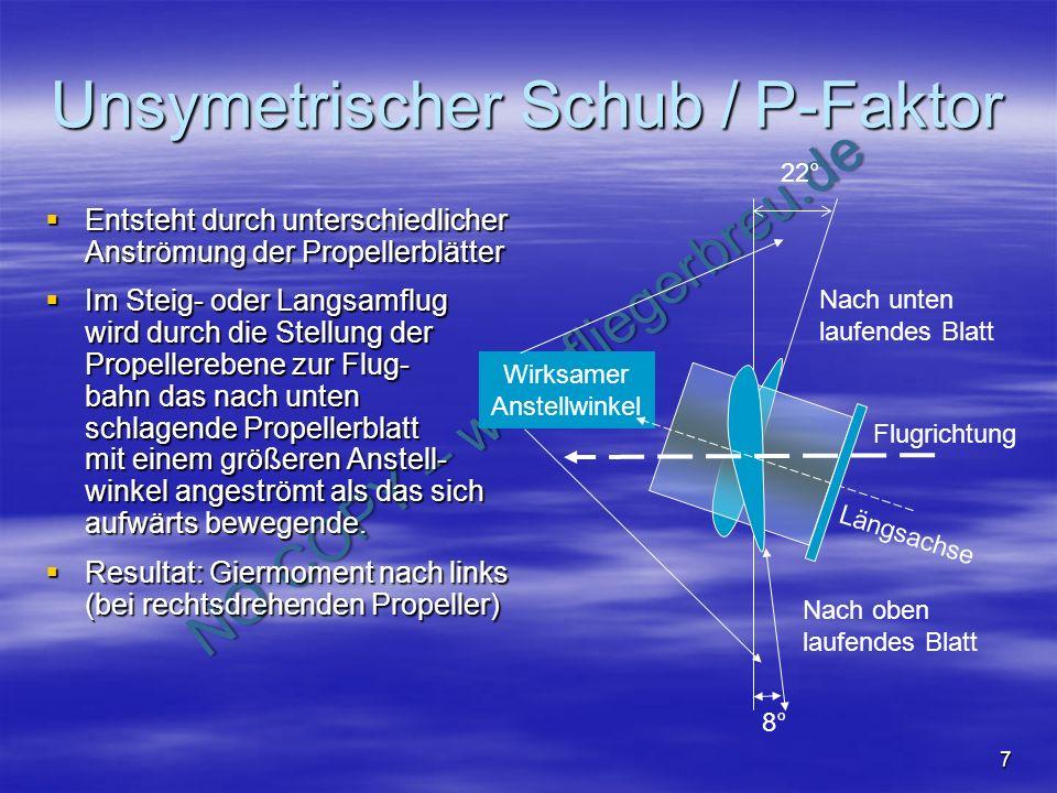Unsymetrischer Schub / P-Faktor