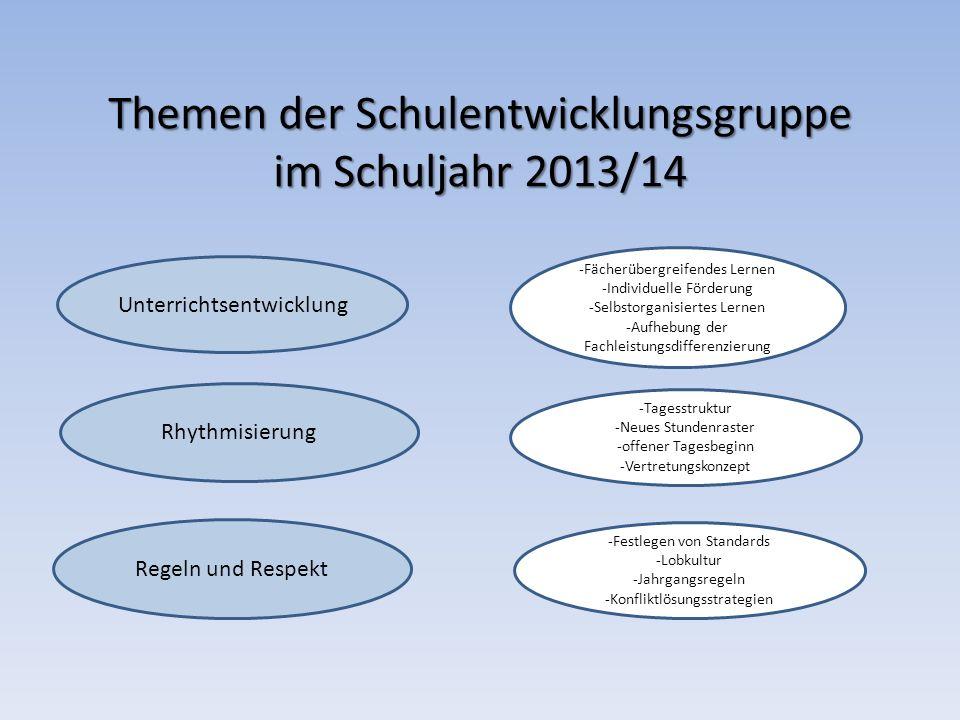 Themen der Schulentwicklungsgruppe im Schuljahr 2013/14