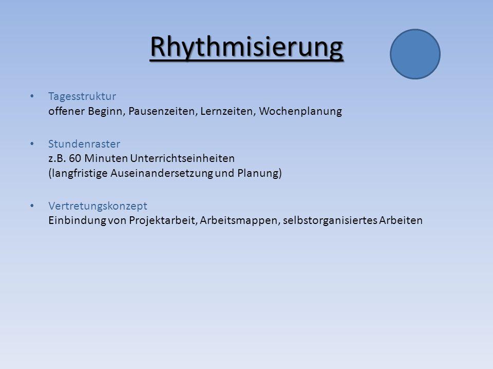 RhythmisierungTagesstruktur offener Beginn, Pausenzeiten, Lernzeiten, Wochenplanung.