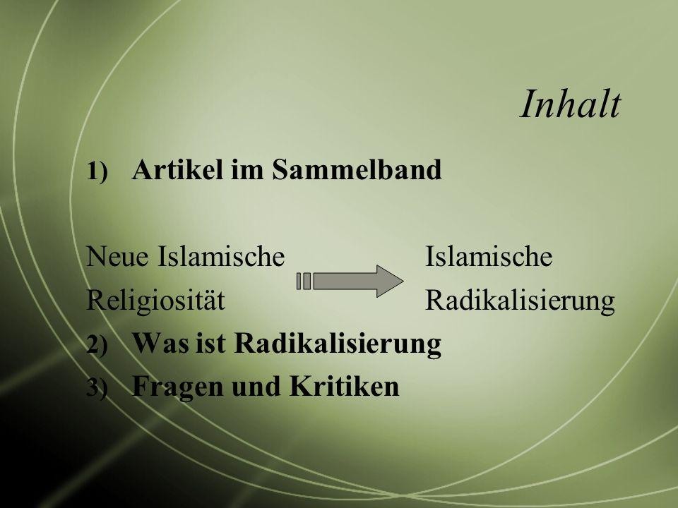 Inhalt Artikel im Sammelband Neue Islamische Islamische