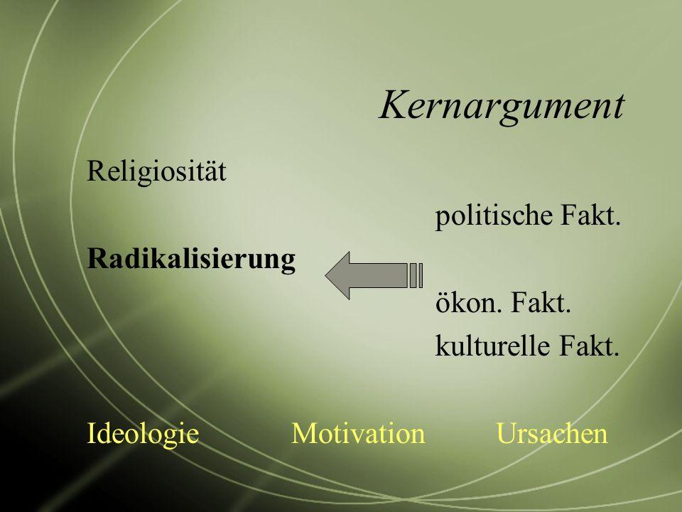 Kernargument Religiosität politische Fakt. Radikalisierung ökon. Fakt.