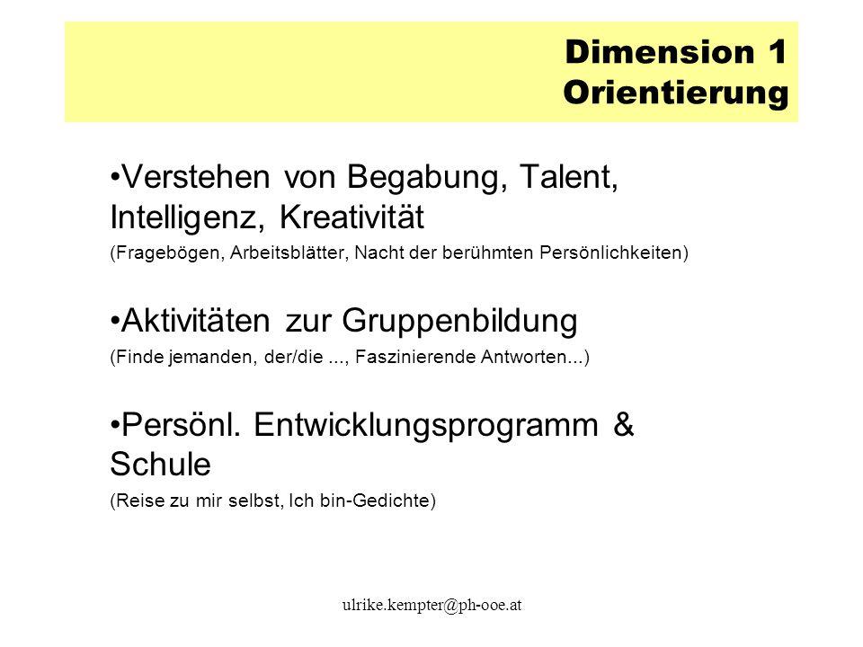 Dimension 1 Orientierung