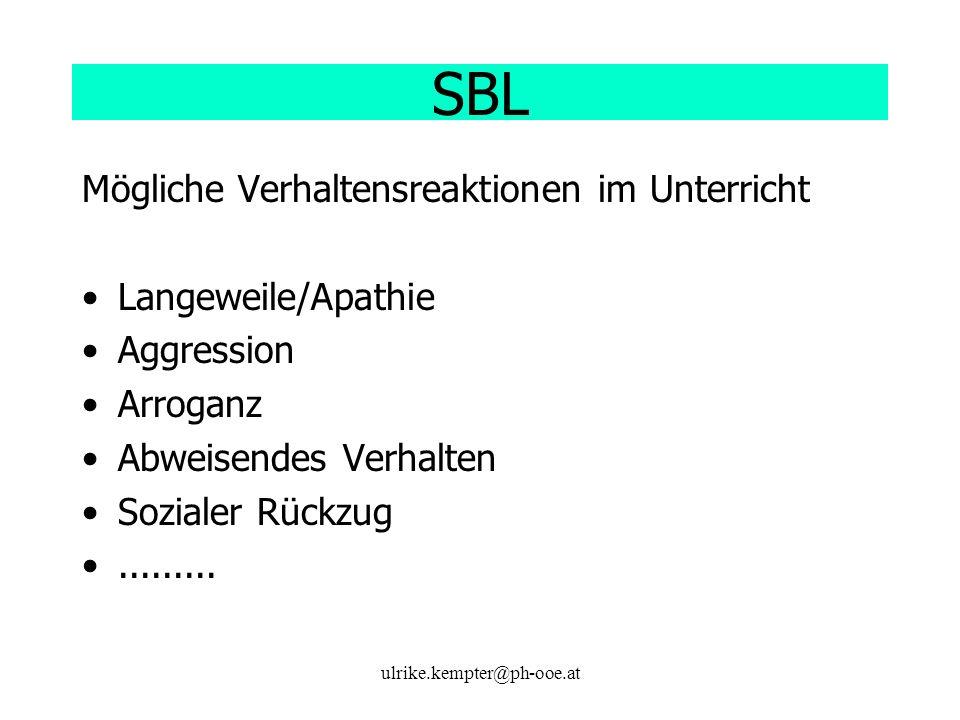 SBL Mögliche Verhaltensreaktionen im Unterricht Langeweile/Apathie