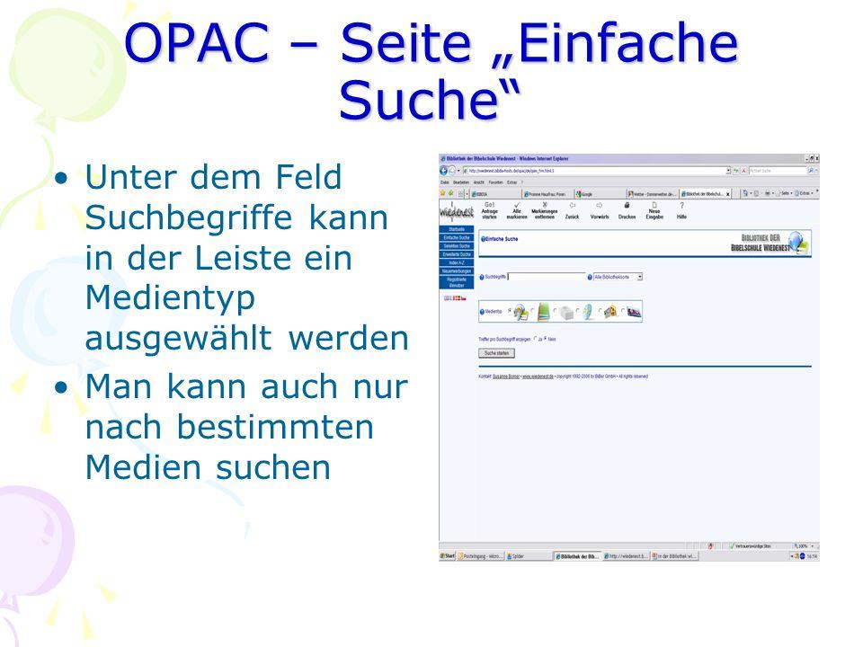 """OPAC – Seite """"Einfache Suche"""