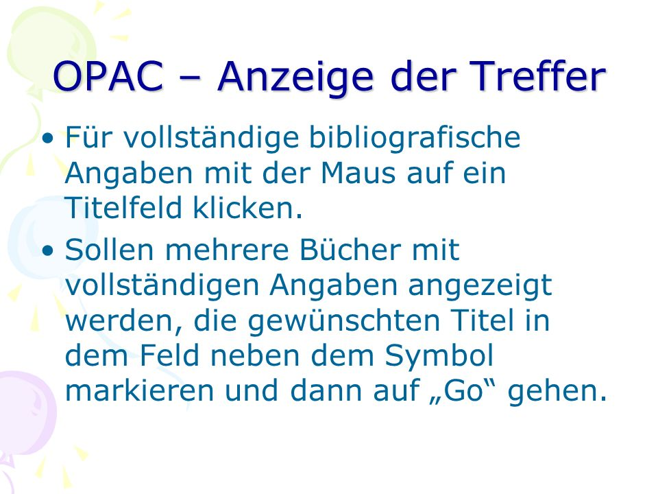 OPAC – Anzeige der Treffer