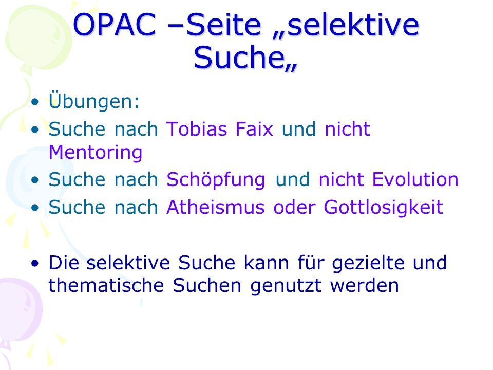 "OPAC –Seite ""selektive Suche"""