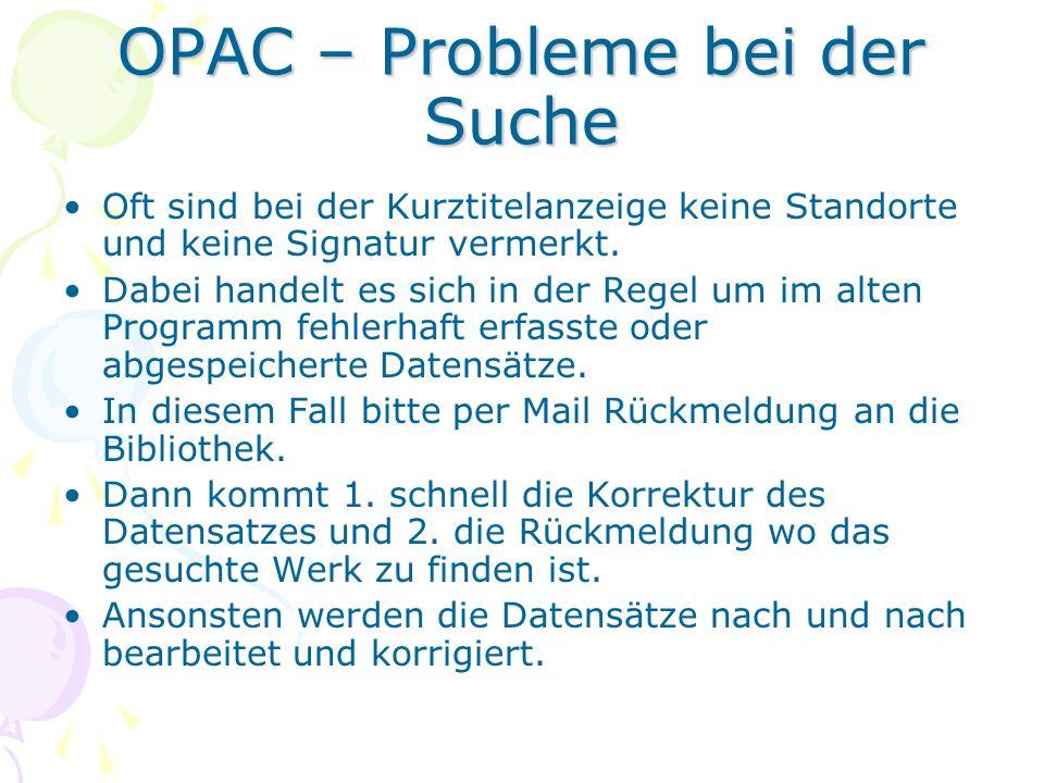 OPAC – Probleme bei der Suche