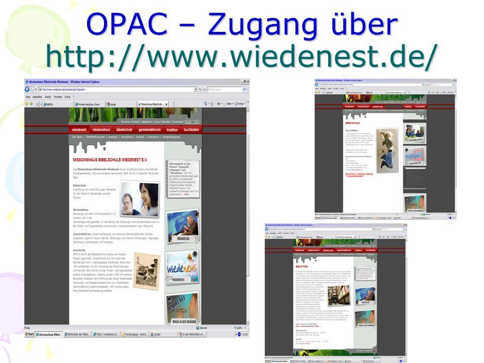 OPAC – Zugang über http://www.wiedenest.de/