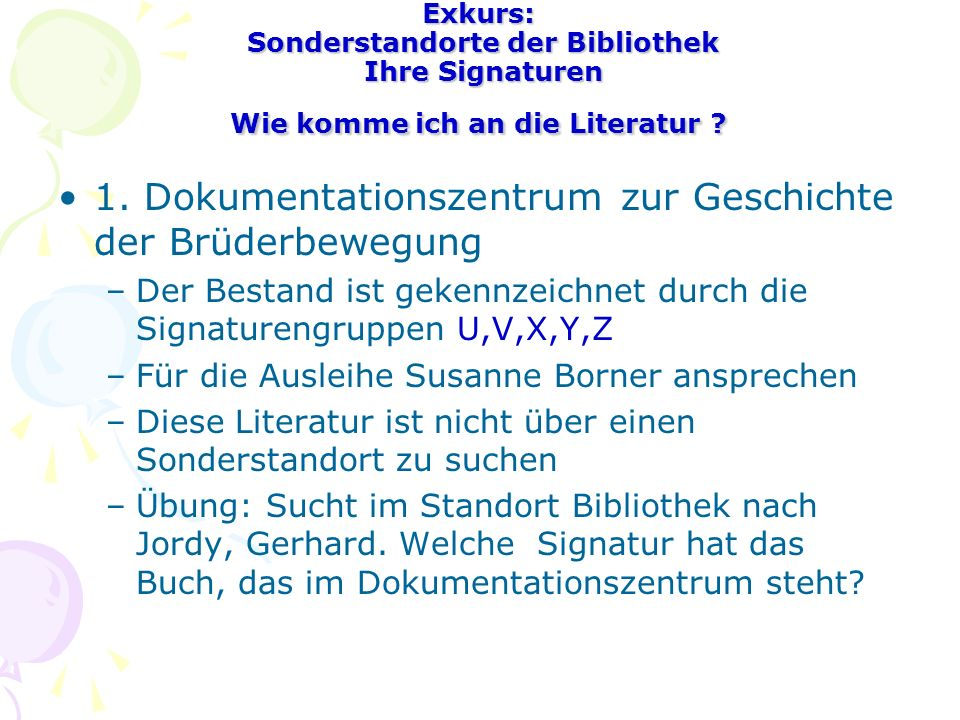 1. Dokumentationszentrum zur Geschichte der Brüderbewegung