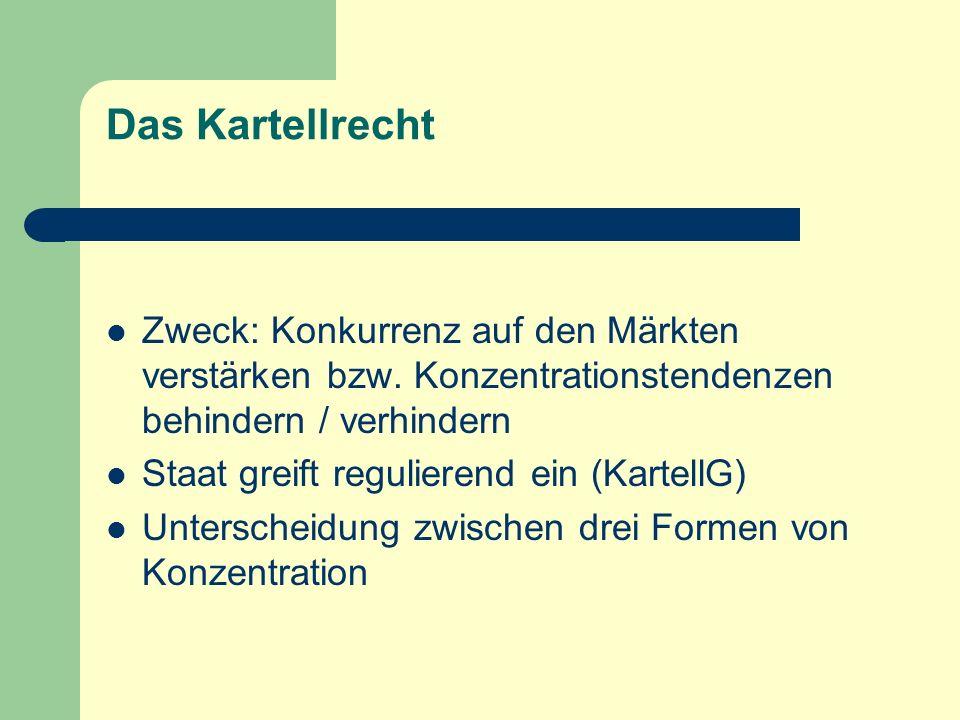 Das Kartellrecht Zweck: Konkurrenz auf den Märkten verstärken bzw. Konzentrationstendenzen behindern / verhindern.