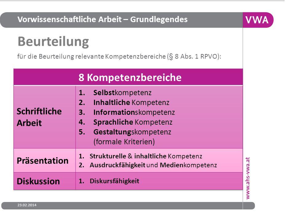 Beurteilung 8 Kompetenzbereiche Schriftliche Arbeit Präsentation