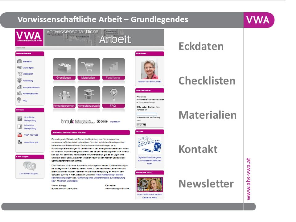 Eckdaten Checklisten Materialien Kontakt Newsletter