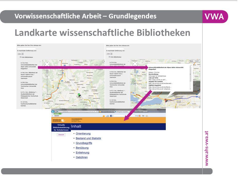 Landkarte wissenschaftliche Bibliotheken