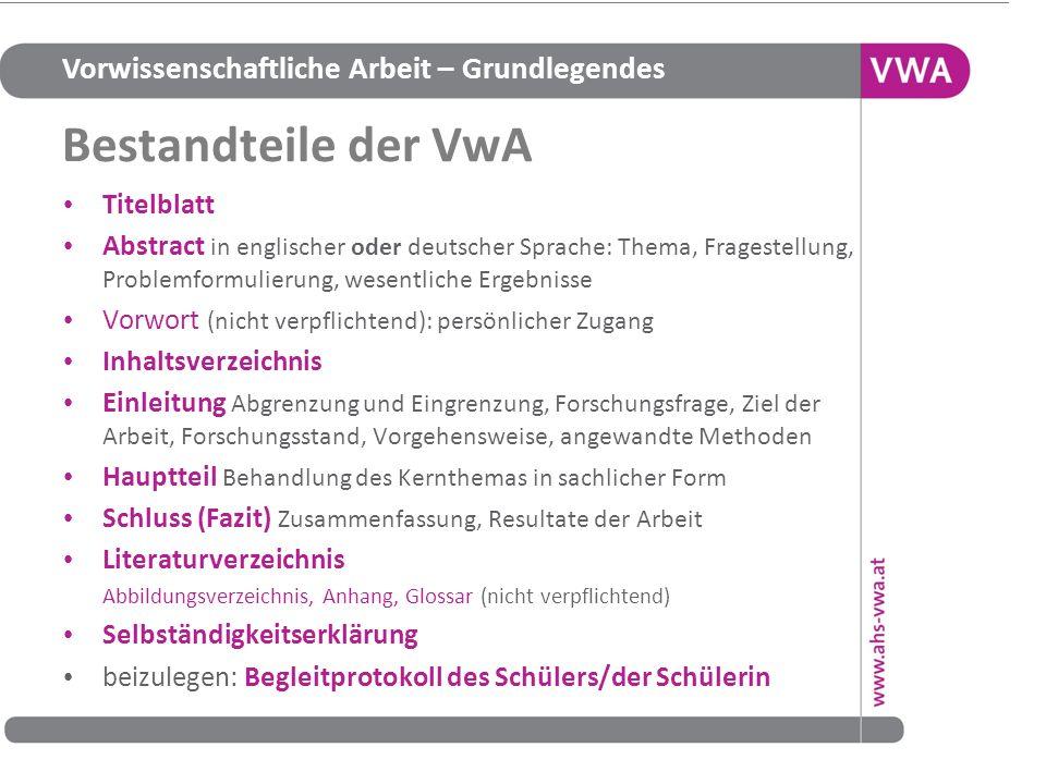 Bestandteile der VwA Titelblatt