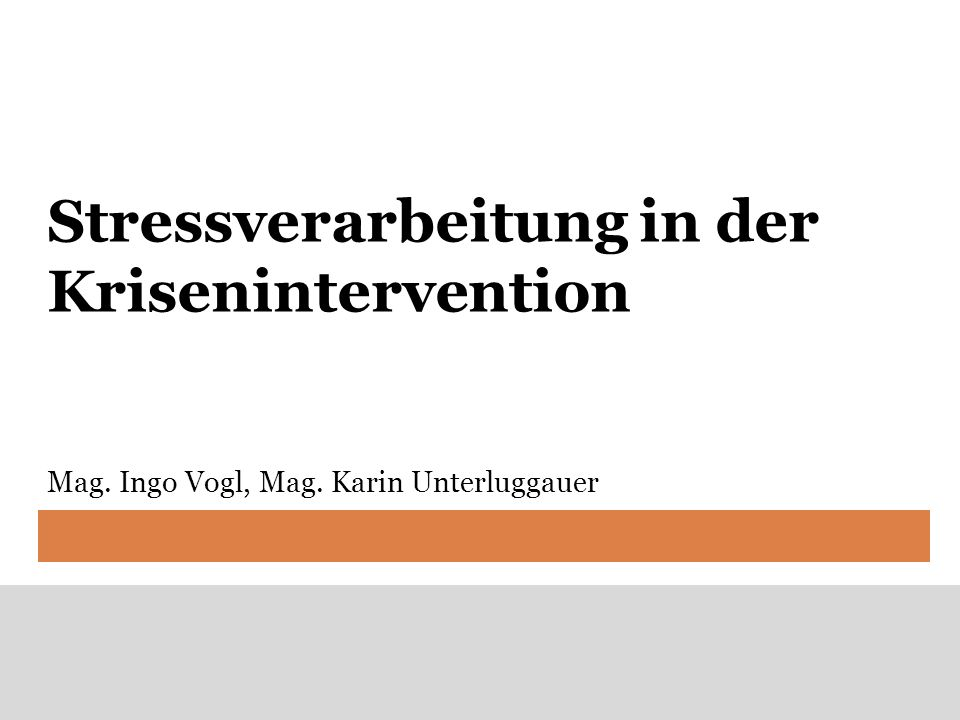 Stressverarbeitung in der Krisenintervention