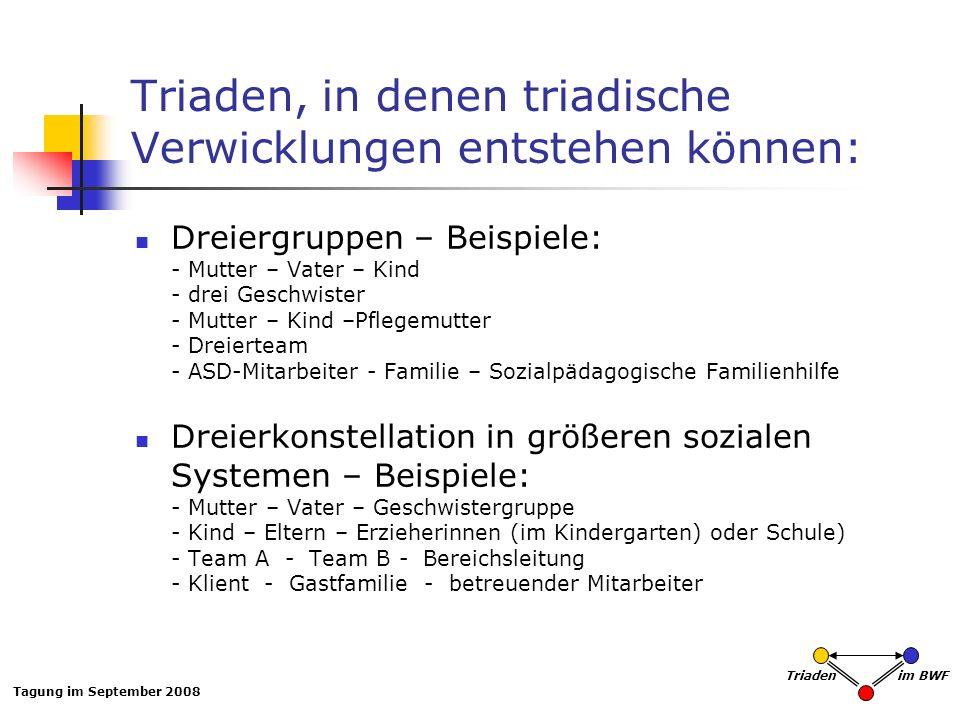 Triaden, in denen triadische Verwicklungen entstehen können: